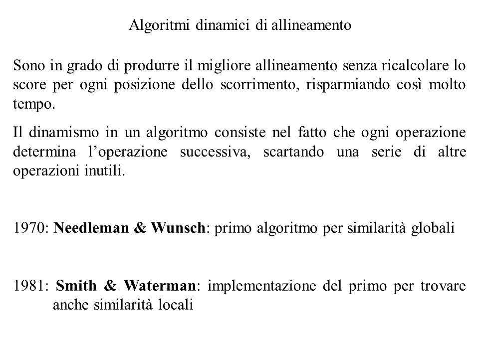 Algoritmi dinamici di allineamento Sono in grado di produrre il migliore allineamento senza ricalcolare lo score per ogni posizione dello scorrimento,