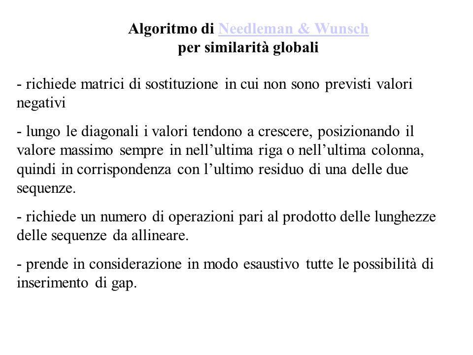 Algoritmo di Needleman & Wunsch per similarità globaliNeedleman & Wunsch - richiede matrici di sostituzione in cui non sono previsti valori negativi -