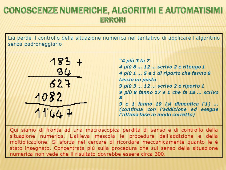 Lia perde il controllo della situazione numerica nel tentativo di applicare lalgoritmo senza padroneggiarlo 4 più 3 fa 7 4 più 8 … 12 … scrivo 2 e rit