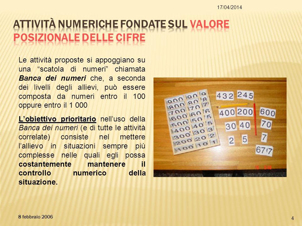 17/04/2014 4 8 febbraio 2006 Le attività proposte si appoggiano su una scatola di numeri chiamata Banca dei numeri che, a seconda dei livelli degli al