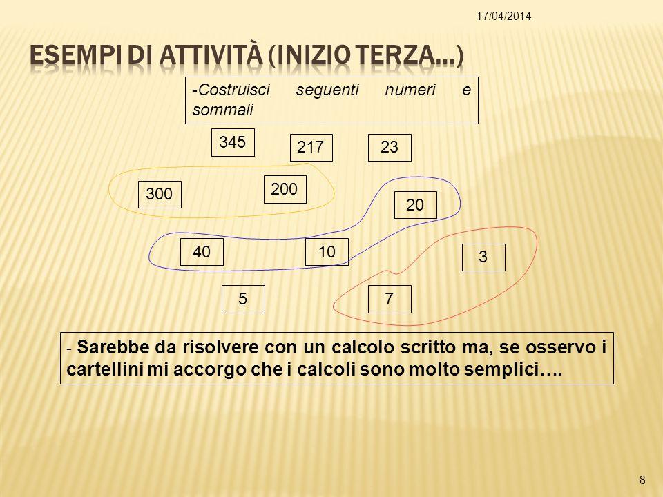 17/04/2014 9 Scomponi dei numeri per costruirne altri che sommati danno lo stesso risultato.