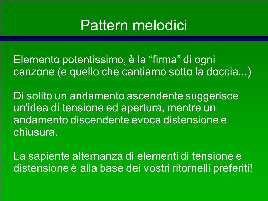 Pattern ritmici e metrici Possiamo distinguere tre suddivisioni principali: TEMPI BINARI, dall andamento energico simile all incedere cadenzato dei passi, TEMPI TERNARI, dall andamento più dolce simile al battito cardiaco.