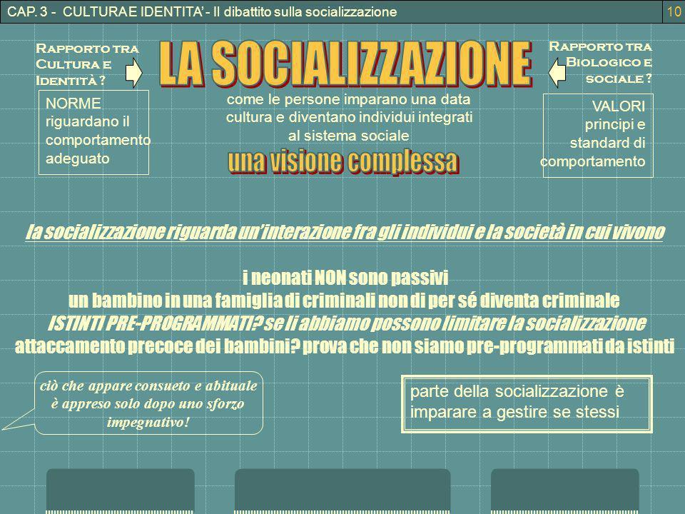 CAP. 3 - CULTURA E IDENTITA - Il dibattito sulla socializzazione Rapporto tra Cultura e Identità ? Rapporto tra Biologico e sociale ? come le persone