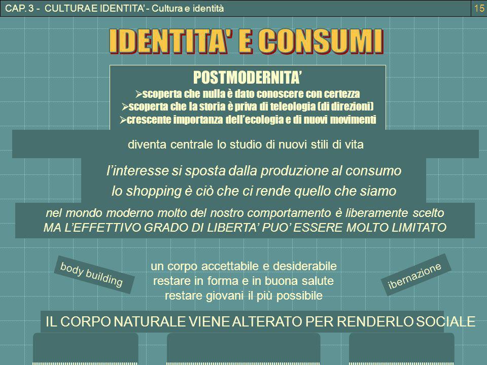 CAP. 3 - CULTURA E IDENTITA - Cultura e identità POSTMODERNITA scoperta che nulla è dato conoscere con certezza scoperta che la storia è priva di tele