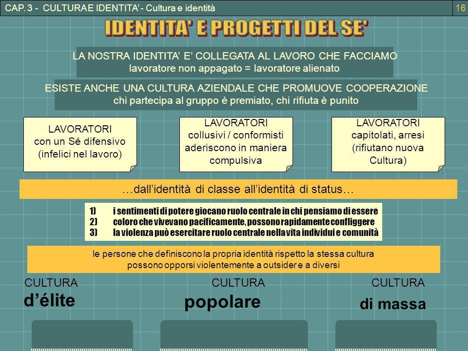 CAP. 3 - CULTURA E IDENTITA - Cultura e identità LA NOSTRA IDENTITA E COLLEGATA AL LAVORO CHE FACCIAMO lavoratore non appagato = lavoratore alienato E