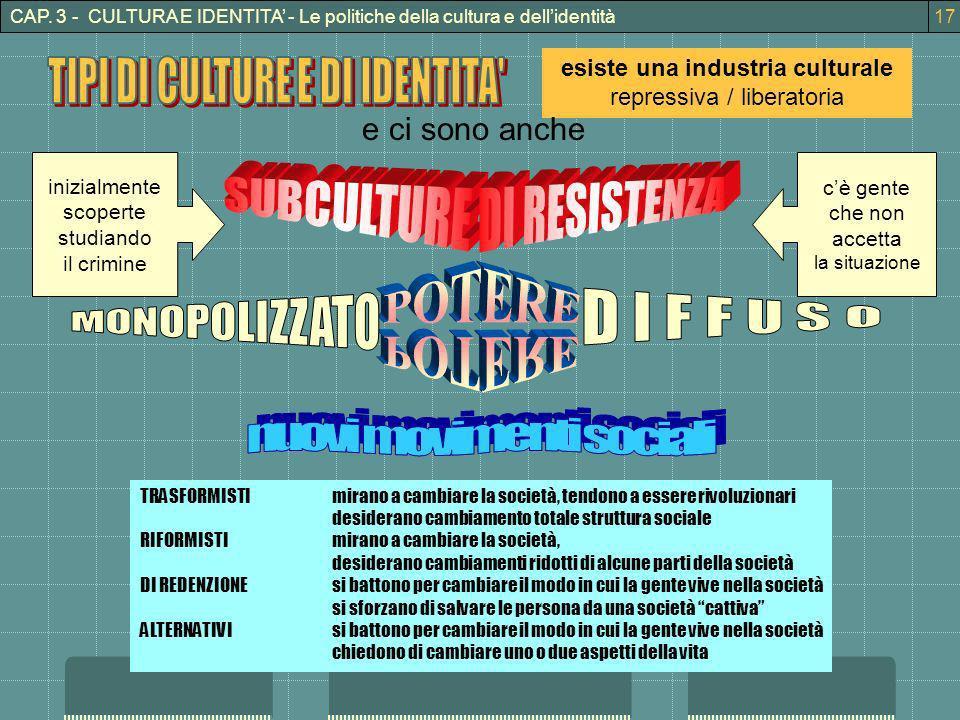 CAP. 3 - CULTURA E IDENTITA - Le politiche della cultura e dellidentità esiste una industria culturale repressiva / liberatoria e ci sono anche inizia