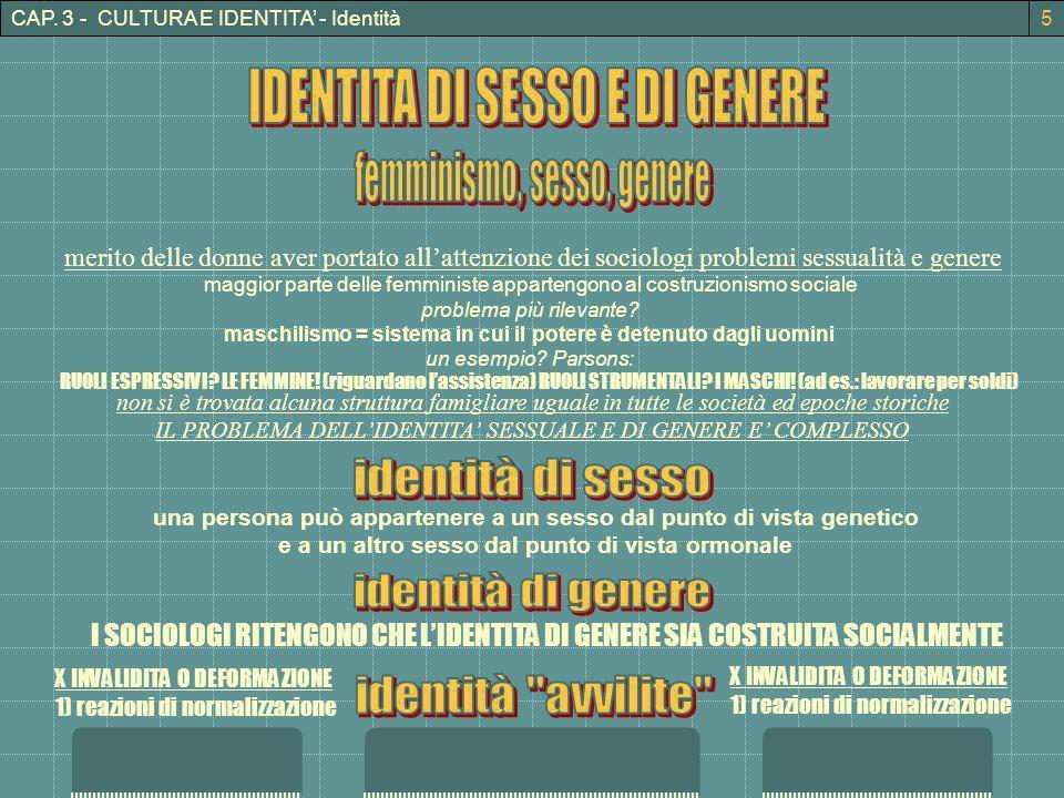 CAP. 3 - CULTURA E IDENTITA - Identità merito delle donne aver portato allattenzione dei sociologi problemi sessualità e genere maggior parte delle fe