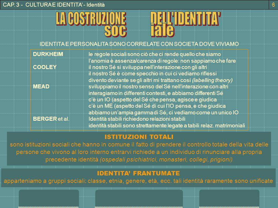 CAP. 3 - CULTURA E IDENTITA - Identità IDENTITA E PERSONALITA SONO CORRELATE CON SOCIETA DOVE VIVIAMO DURKHEIMle regole sociali sono ciò che ci rende