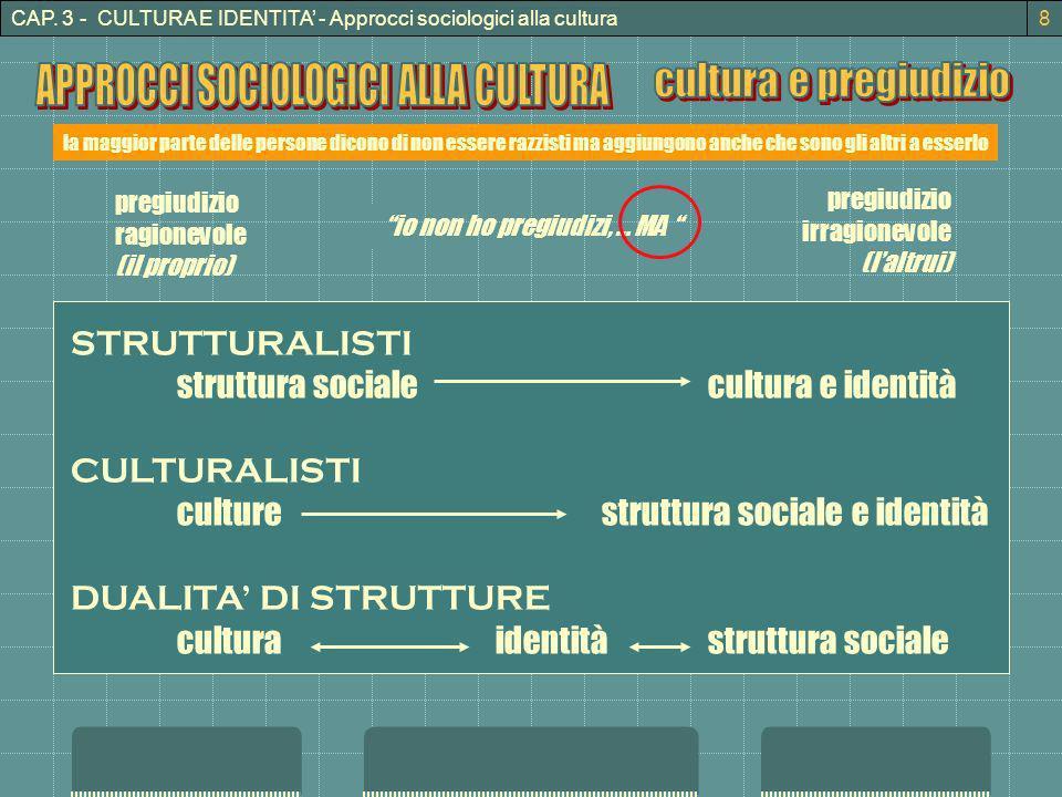 CAP. 3 - CULTURA E IDENTITA - Approcci sociologici alla cultura io non ho pregiudizi, … MA la maggior parte delle persone dicono di non essere razzist