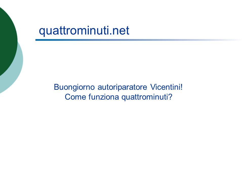 quattrominuti.net Buongiorno autoriparatore Vicentini! Come funziona quattrominuti?