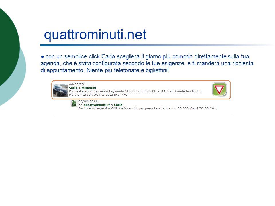 quattrominuti.net con un semplice click Carlo sceglierà il giorno più comodo direttamente sulla tua agenda, che è stata configurata secondo le tue esigenze, e ti manderà una richiesta di appuntamento.