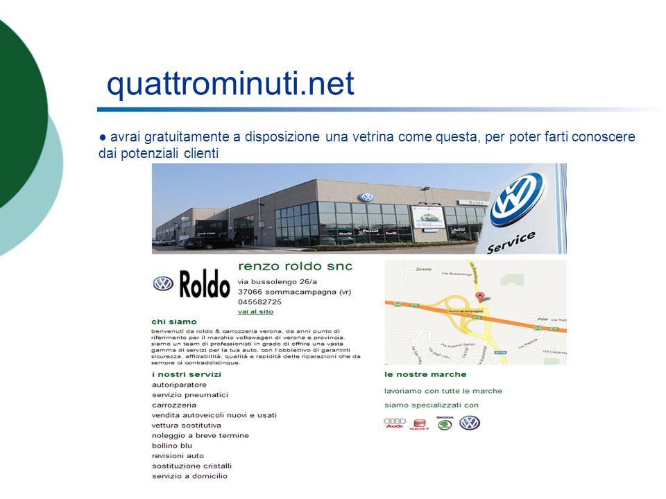 quattrominuti.net avrai gratuitamente a disposizione una vetrina come questa, per poter farti conoscere dai potenziali clienti