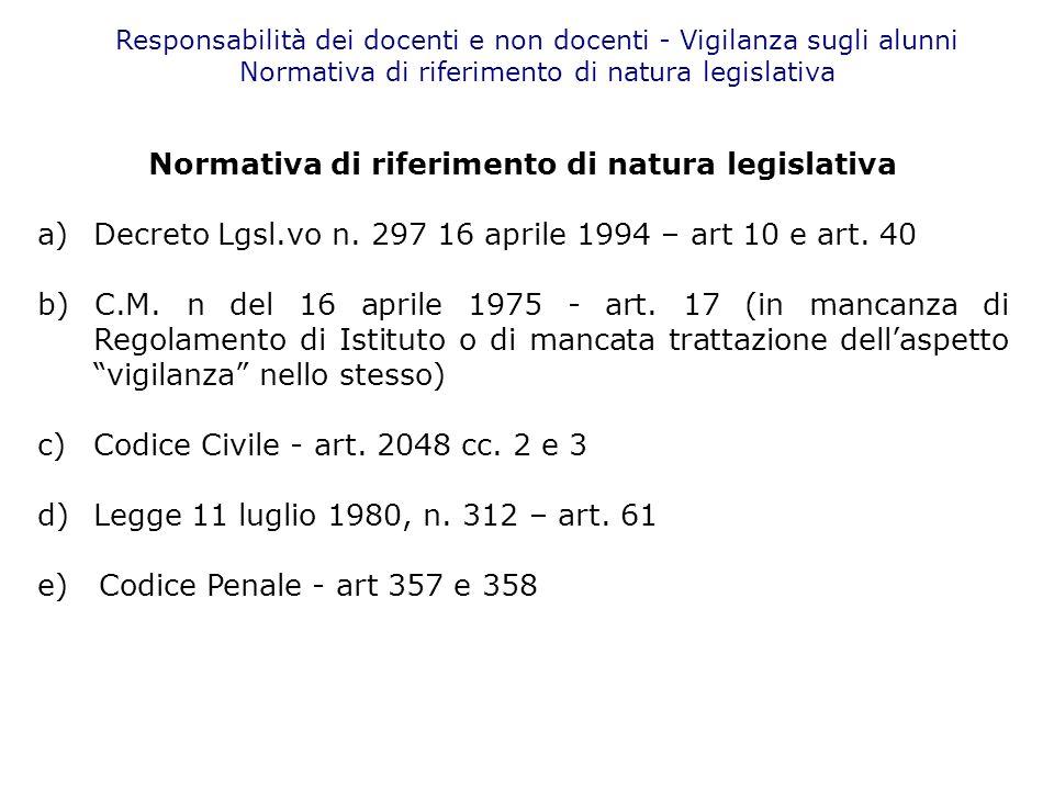 Responsabilità dei docenti e non docenti - Vigilanza sugli alunni Normativa di riferimento di natura legislativa a) Decreto Lgsl.vo n. 297 16 aprile 1