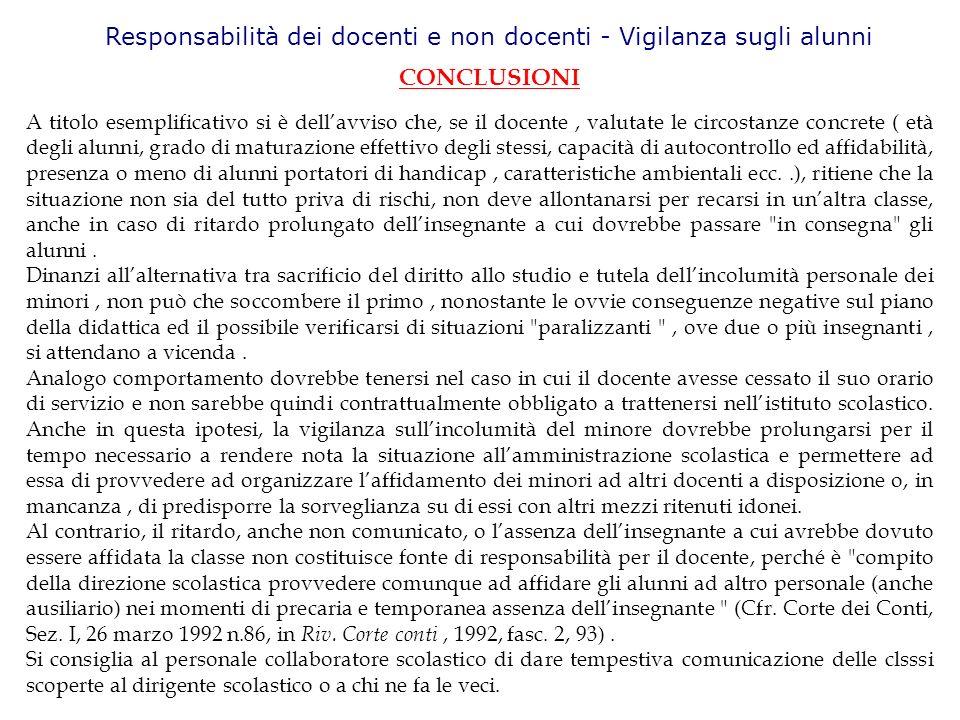 Responsabilità dei docenti e non docenti - Vigilanza sugli alunni CONCLUSIONI A titolo esemplificativo si è dellavviso che, se il docente, valutate le