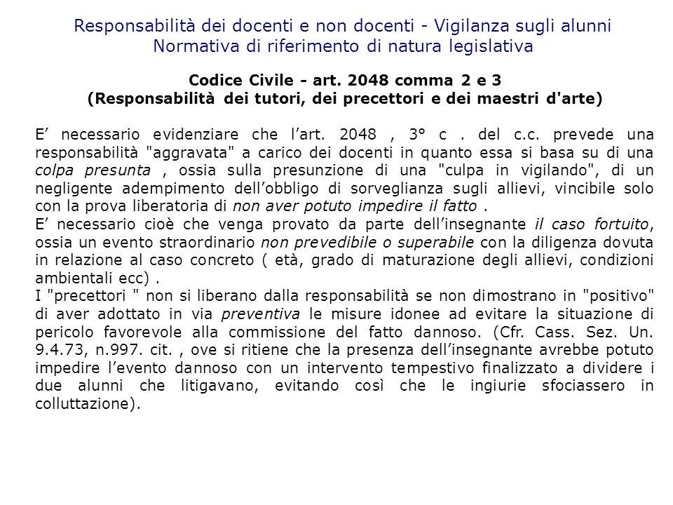 Responsabilità dei docenti e non docenti - Vigilanza sugli alunni Normativa di riferimento di natura legislativa Codice Civile - art. 2048 comma 2 e 3
