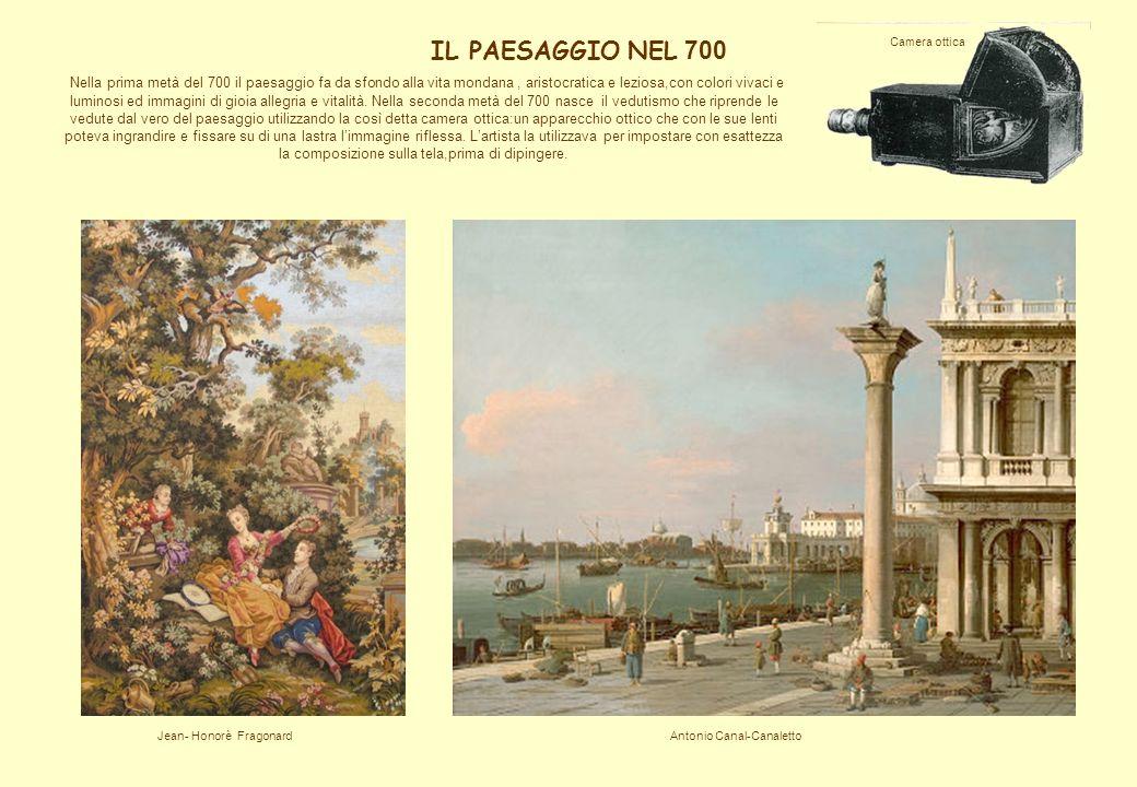 Nella prima metà del 700 il paesaggio fa da sfondo alla vita mondana, aristocratica e leziosa,con colori vivaci e luminosi ed immagini di gioia allegr