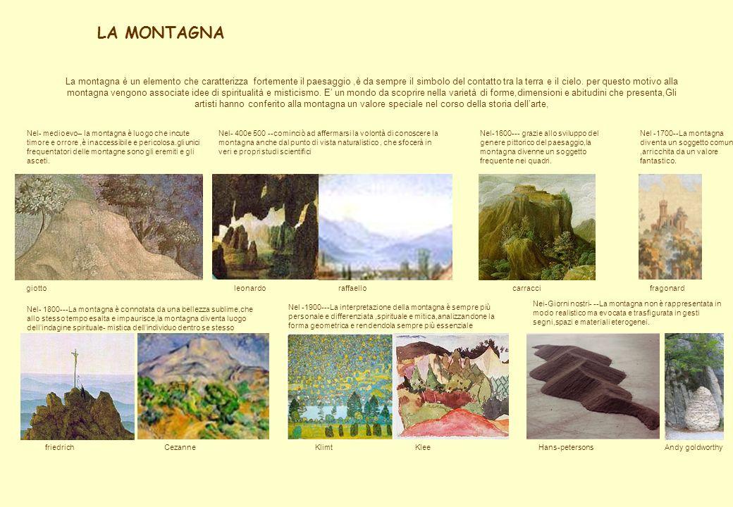 LA MONTAGNA Nel- medioevo-- la montagna è luogo che incute timore e orrore,è inaccessibile e pericolosa.gli unici frequentatori delle montagne sono gl
