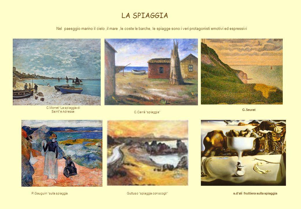 LA SPIAGGIA C.Carrà spiaggia C.Monet La spiaggia di Sainte Adresse P.Gauguin sulla spiaggiaGuttuso spiaggia con scogli Nel paesggio marino il cielo,il