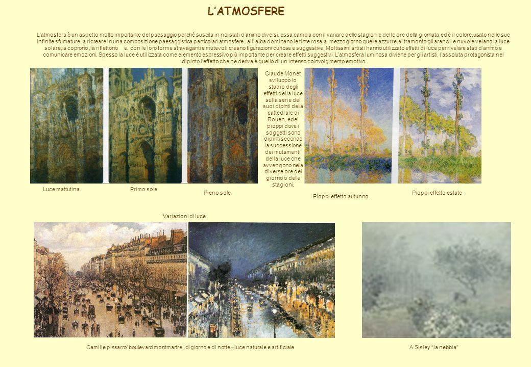 LATMOSFERE Luce mattutinaPrimo sole Pieno sole Claude Monet sviluppò lo studio degli effetti della luce sulla serie dei suoi dipinti della cattedrale