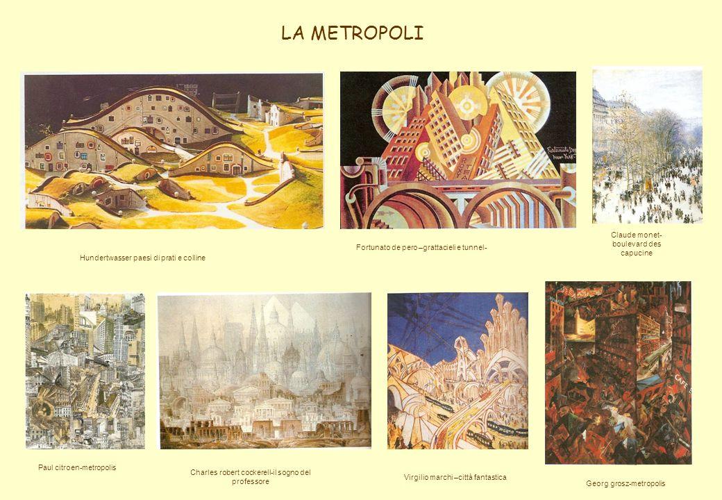 Hundertwasser paesi di prati e colline Fortunato de pero –grattacieli e tunnel- Claude monet- boulevard des capucine Paul citroen-metropolis Charles r