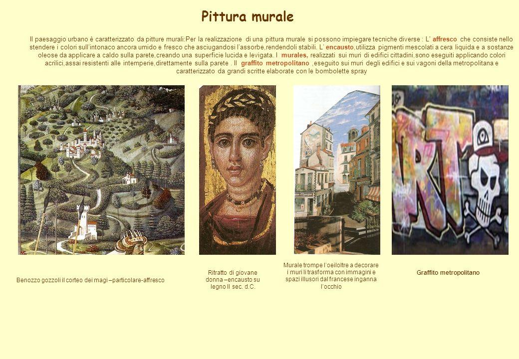 Pittura murale Il paesaggio urbano è caratterizzato da pitture murali:Per la realizzazione di una pittura murale si possono impiegare tecniche diverse