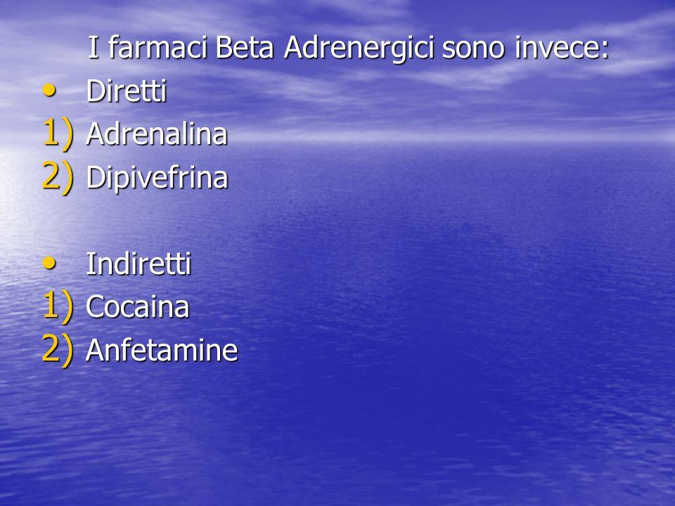 I farmaci Beta Adrenergici sono invece: I farmaci Beta Adrenergici sono invece: Diretti Diretti 1) Adrenalina 2) Dipivefrina Indiretti Indiretti 1) Co
