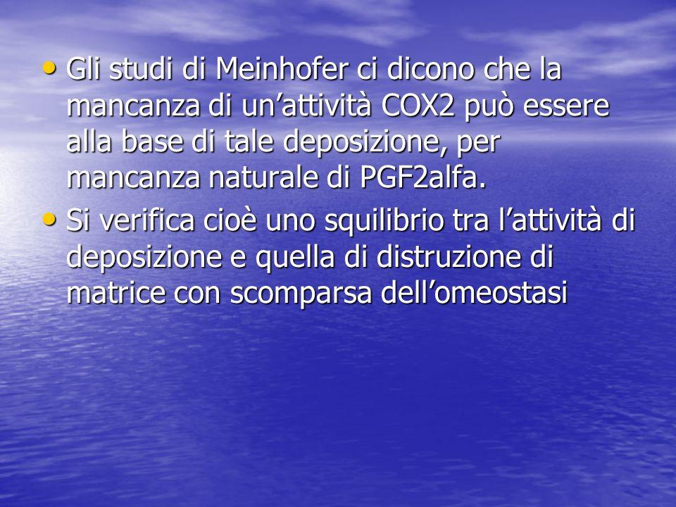 Gli studi di Meinhofer ci dicono che la mancanza di unattività COX2 può essere alla base di tale deposizione, per mancanza naturale di PGF2alfa. Gli s