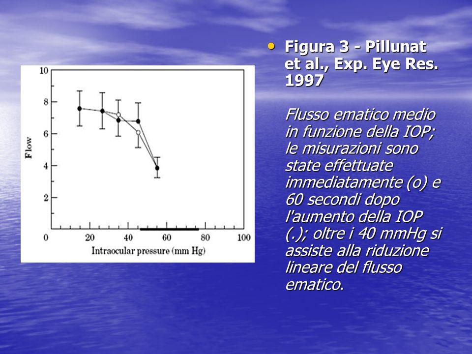 Figura 3 - Pillunat et al., Exp. Eye Res. 1997 Flusso ematico medio in funzione della IOP; le misurazioni sono state effettuate immediatamente (o) e 6