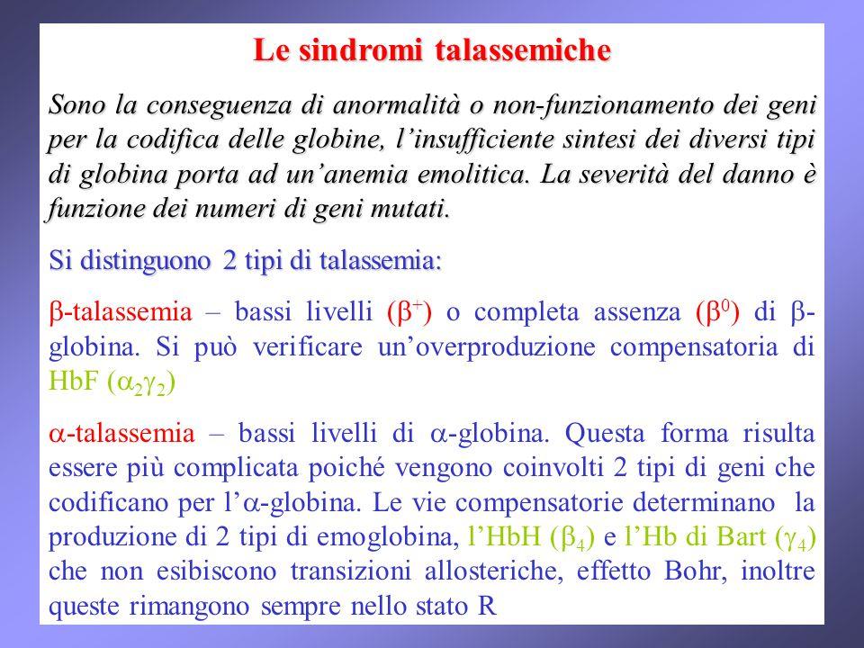 Le sindromi talassemiche Sono la conseguenza di anormalità o non-funzionamento dei geni per la codifica delle globine, linsufficiente sintesi dei diversi tipi di globina porta ad unanemia emolitica.