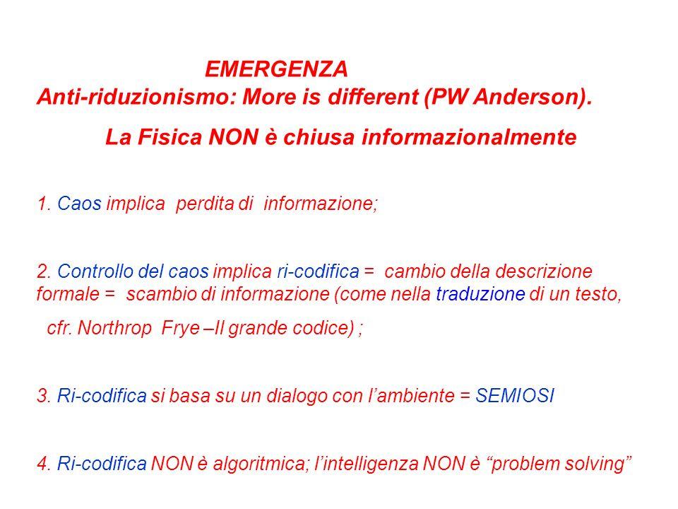 EMERGENZA Anti-riduzionismo: More is different (PW Anderson). La Fisica NON è chiusa informazionalmente 1. Caos implica perdita di informazione; 2. Co