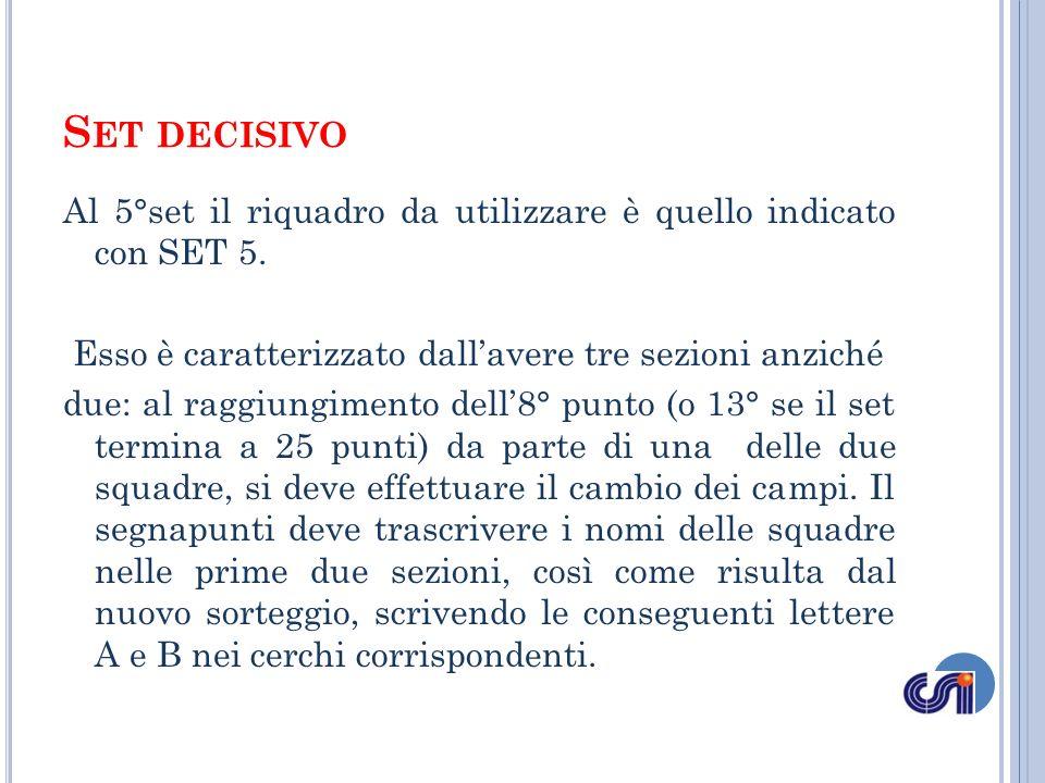 Al 5°set il riquadro da utilizzare è quello indicato con SET 5. Esso è caratterizzato dallavere tre sezioni anziché due: al raggiungimento dell8° punt