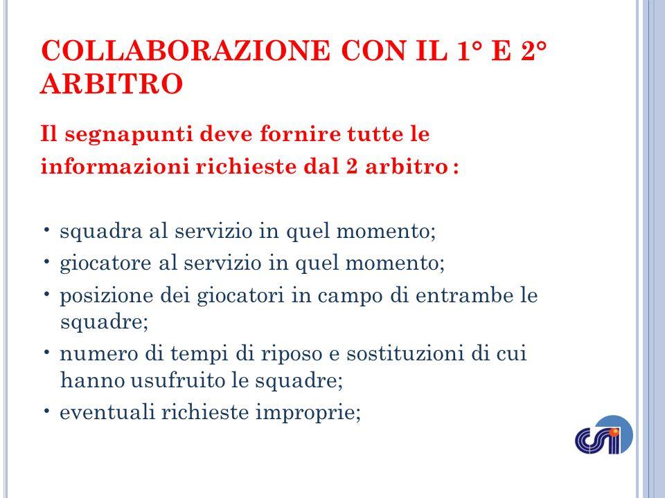 COLLABORAZIONE CON IL 1° E 2° ARBITRO Il segnapunti deve fornire tutte le informazioni richieste dal 2 arbitro : squadra al servizio in quel momento;