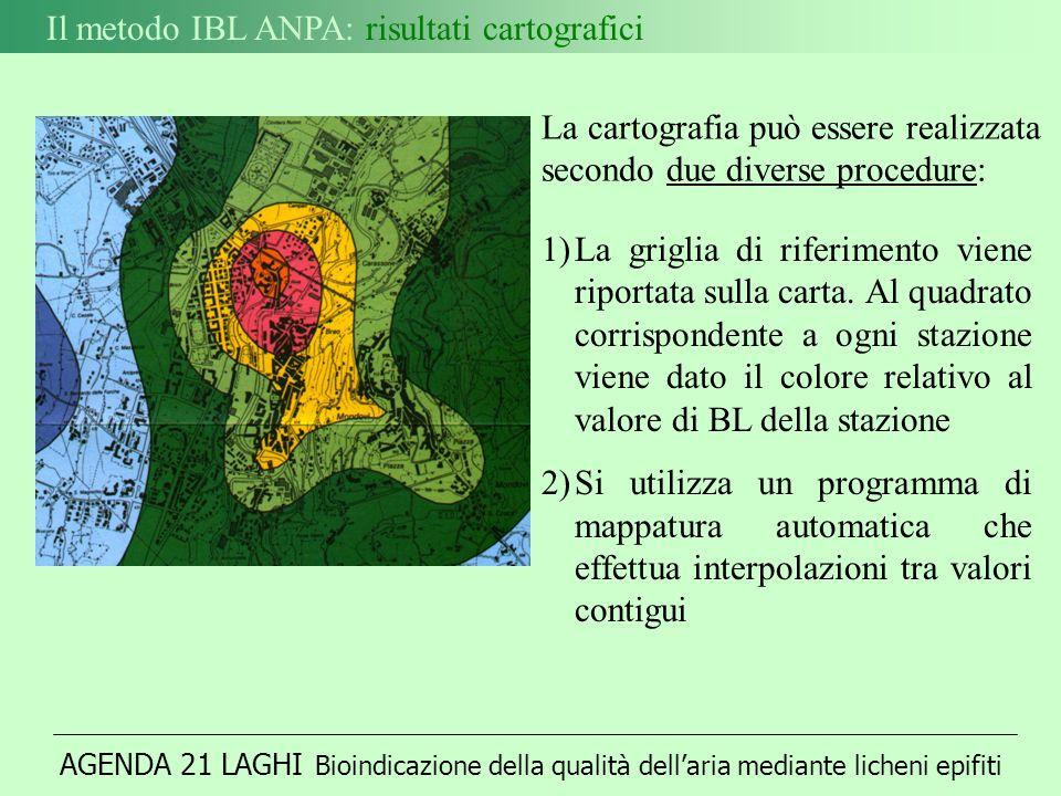 AGENDA 21 LAGHI Bioindicazione della qualità dellaria mediante licheni epifiti Il metodo IBL ANPA: risultati cartografici 1)La griglia di riferimento viene riportata sulla carta.