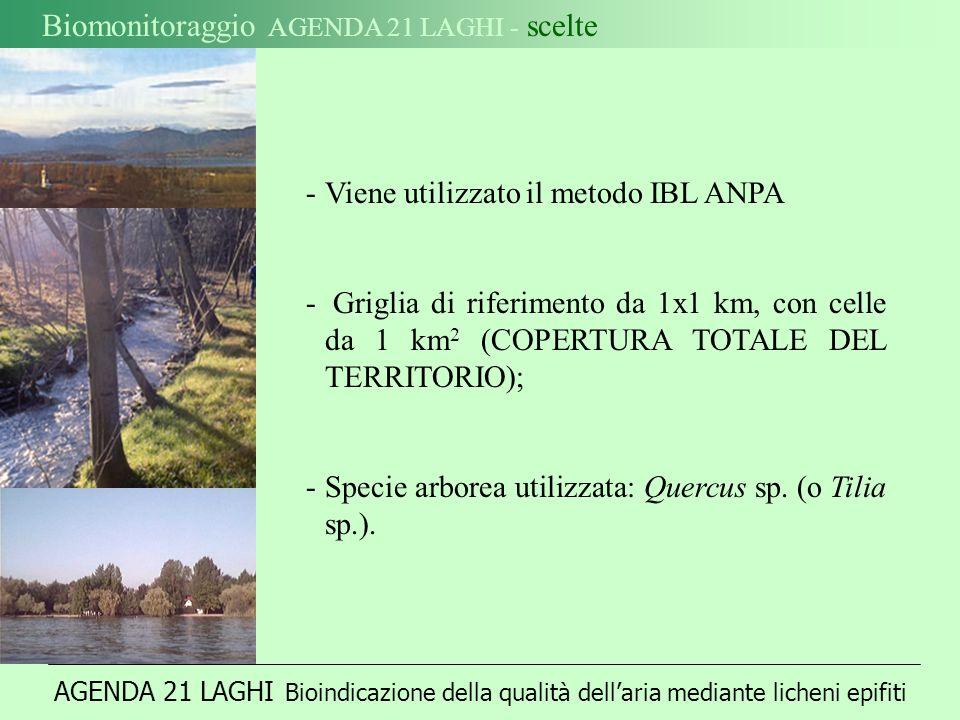 AGENDA 21 LAGHI Bioindicazione della qualità dellaria mediante licheni epifiti Biomonitoraggio AGENDA 21 LAGHI - scelte -Viene utilizzato il metodo IBL ANPA - Griglia di riferimento da 1x1 km, con celle da 1 km 2 (COPERTURA TOTALE DEL TERRITORIO); -Specie arborea utilizzata: Quercus sp.
