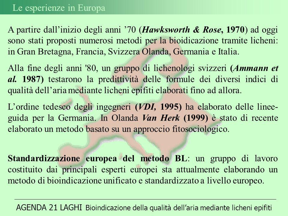 A partire dallinizio degli anni 70 (Hawksworth & Rose, 1970) ad oggi sono stati proposti numerosi metodi per la bioidicazione tramite licheni: in Gran Bretagna, Francia, Svizzera Olanda, Germania e Italia.