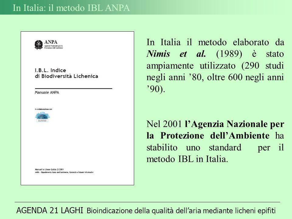 AGENDA 21 LAGHI Bioindicazione della qualità dellaria mediante licheni epifiti In Italia: il metodo IBL ANPA In Italia il metodo elaborato da Nimis et al.