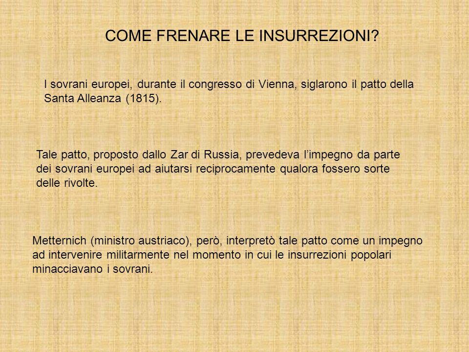COME FRENARE LE INSURREZIONI? I sovrani europei, durante il congresso di Vienna, siglarono il patto della Santa Alleanza (1815). Tale patto, proposto