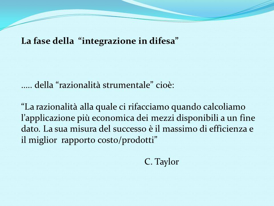 La fase della integrazione in difesa ….. della razionalità strumentale cioè: La razionalità alla quale ci rifacciamo quando calcoliamo lapplicazione p