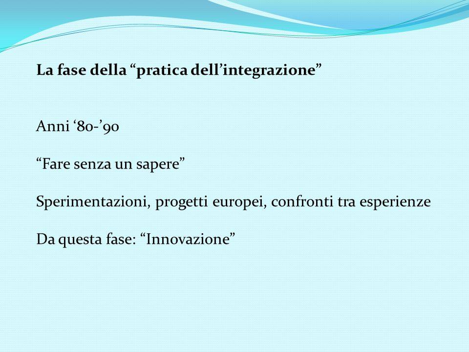 La fase della pratica dellintegrazione Anni 80-90 Fare senza un sapere Sperimentazioni, progetti europei, confronti tra esperienze Da questa fase: Inn