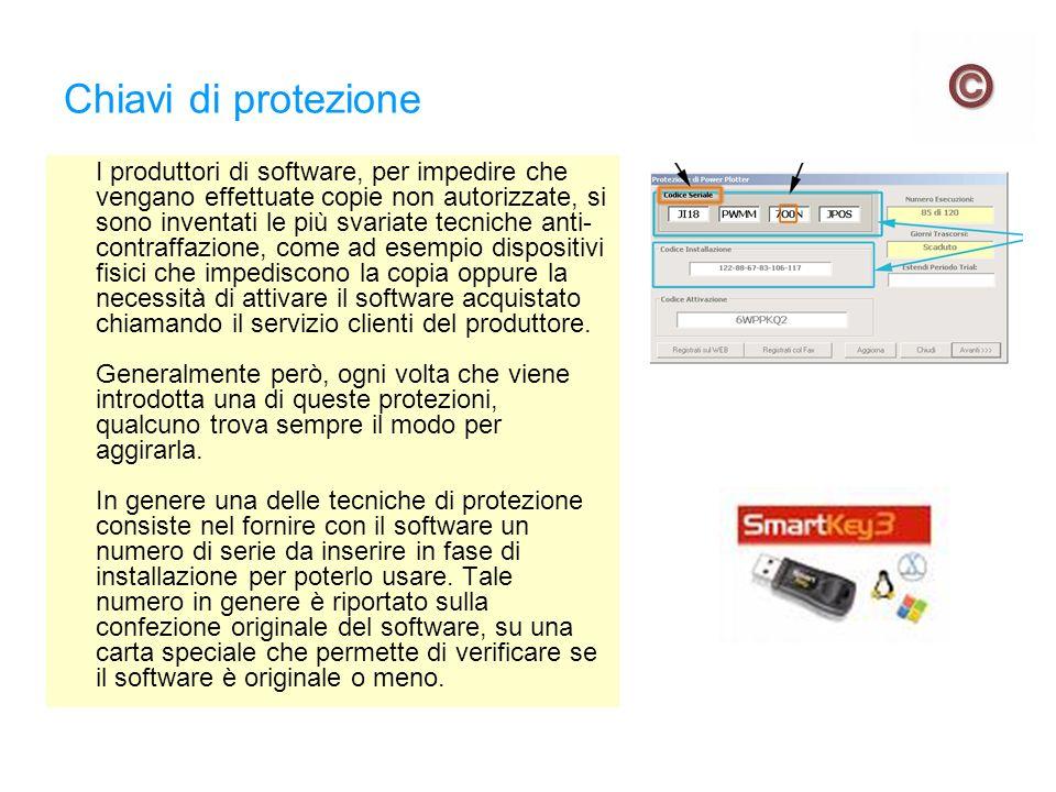 Chiavi di protezione I produttori di software, per impedire che vengano effettuate copie non autorizzate, si sono inventati le più svariate tecniche a