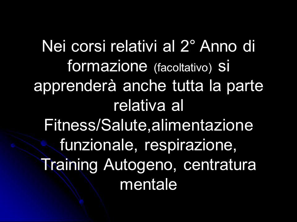 Nei corsi relativi al 2° Anno di formazione (facoltativo) si apprenderà anche tutta la parte relativa al Fitness/Salute,alimentazione funzionale, resp