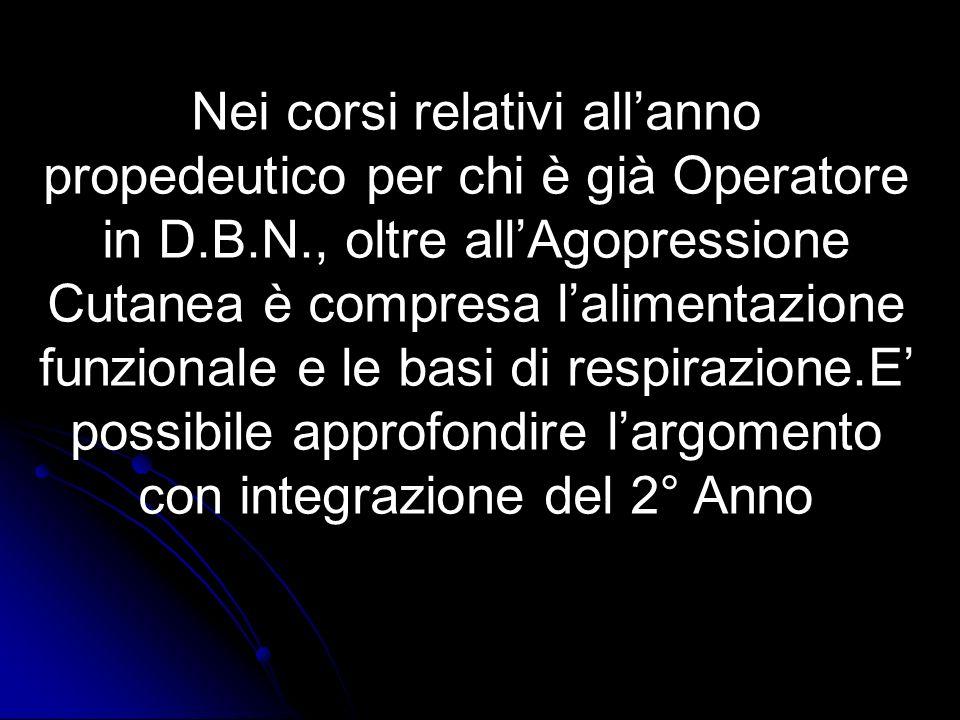 Nei corsi relativi allanno propedeutico per chi è già Operatore in D.B.N., oltre allAgopressione Cutanea è compresa lalimentazione funzionale e le bas