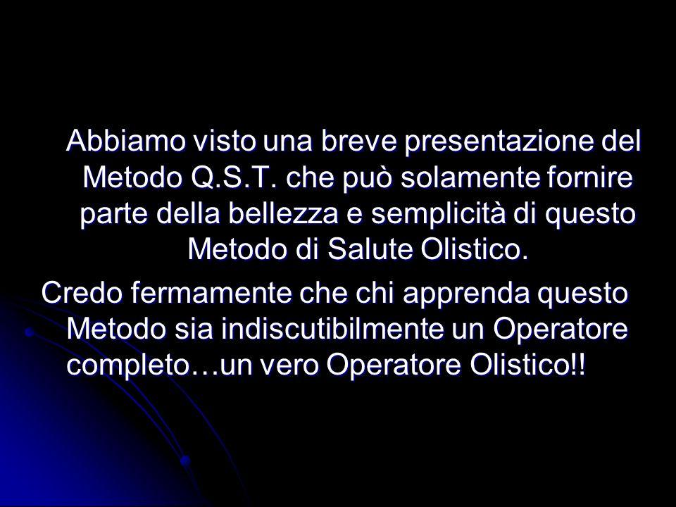 Abbiamo visto una breve presentazione del Metodo Q.S.T. che può solamente fornire parte della bellezza e semplicità di questo Metodo di Salute Olistic