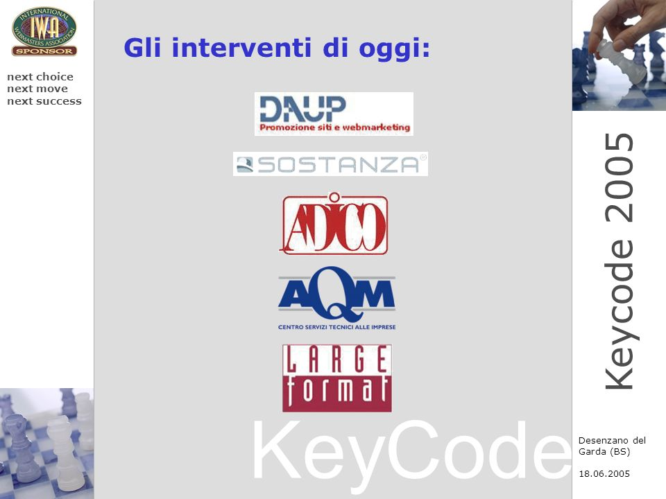 KeyCode next choice next move next success Desenzano del Garda (BS) 18.06.2005 Keycode 2005 Gli interventi di oggi: