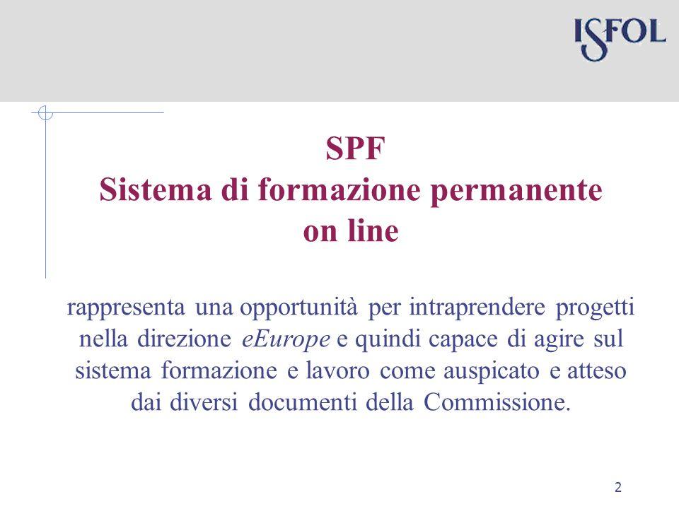 2 SPF Sistema di formazione permanente on line rappresenta una opportunità per intraprendere progetti nella direzione eEurope e quindi capace di agire sul sistema formazione e lavoro come auspicato e atteso dai diversi documenti della Commissione.