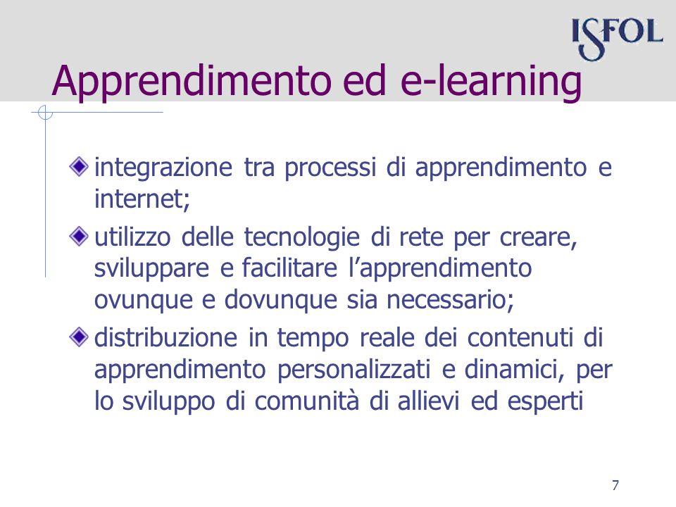 7 integrazione tra processi di apprendimento e internet; utilizzo delle tecnologie di rete per creare, sviluppare e facilitare lapprendimento ovunque e dovunque sia necessario; distribuzione in tempo reale dei contenuti di apprendimento personalizzati e dinamici, per lo sviluppo di comunità di allievi ed esperti Apprendimento ed e-learning