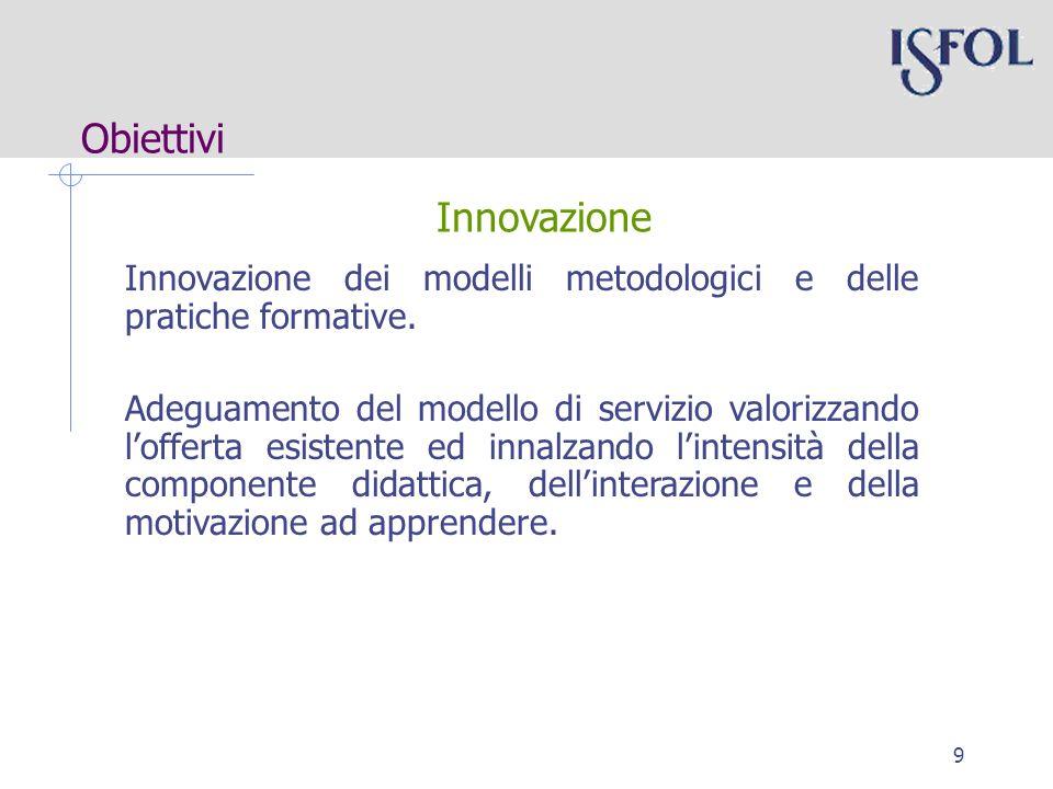 9 Obiettivi Innovazione dei modelli metodologici e delle pratiche formative.