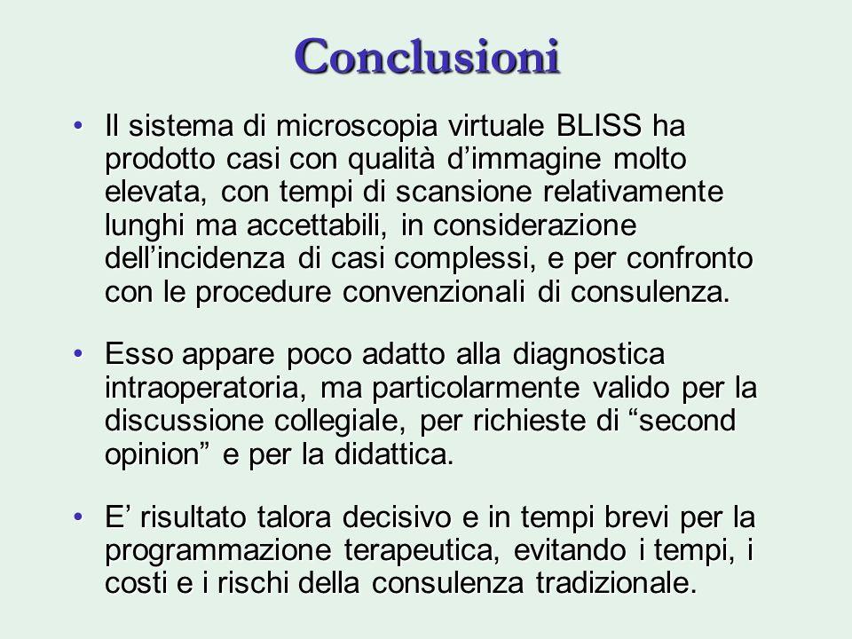 Conclusioni Il sistema di microscopia virtuale BLISS ha prodotto casi con qualità dimmagine molto elevata, con tempi di scansione relativamente lunghi