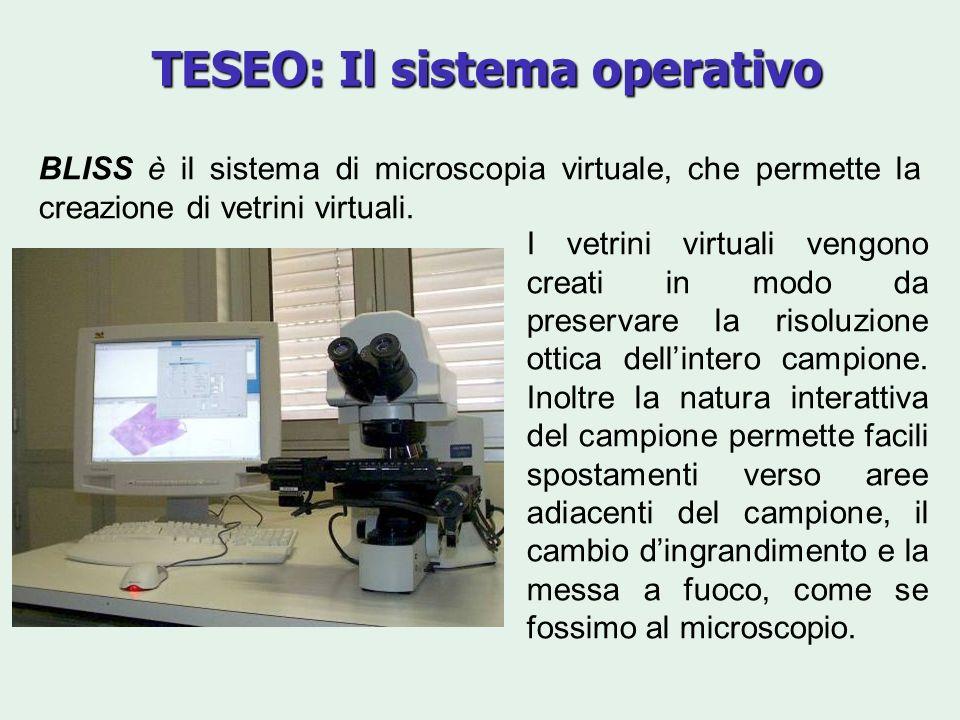 TESEO: Il sistema operativo BLISS è il sistema di microscopia virtuale, che permette la creazione di vetrini virtuali. I vetrini virtuali vengono crea
