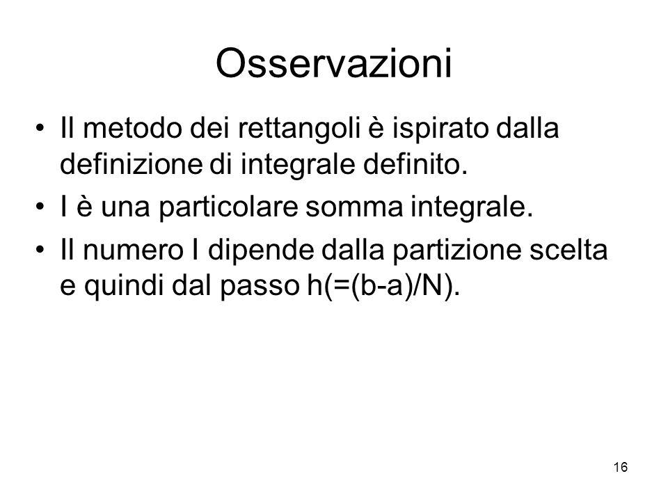 16 Osservazioni Il metodo dei rettangoli è ispirato dalla definizione di integrale definito. I è una particolare somma integrale. Il numero I dipende